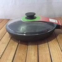 Чугунная сковорода 240х 40мм со стеклянной крышкой