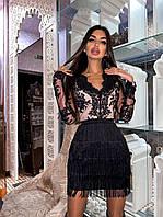 Платье вечернее с бахрамой BRТ1050