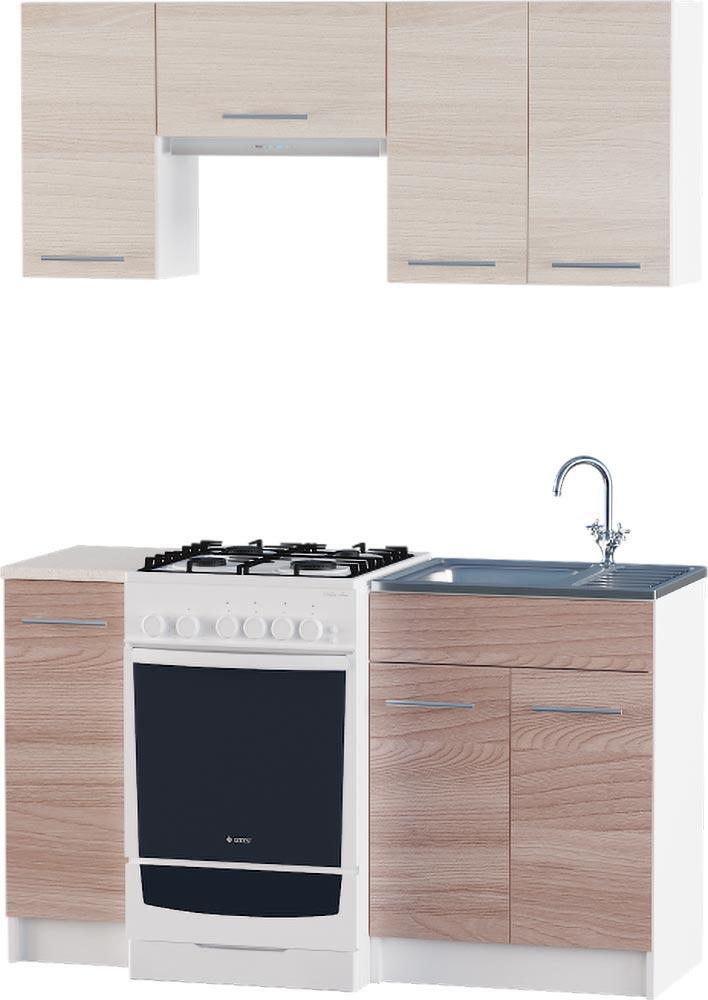 Кухня Эко №2 набор 1.4 м ЭВЕРЕСТ Белый + Шимо светлый, фото 5