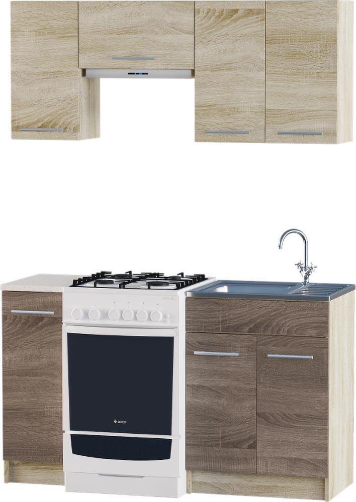 Кухня Эко №2 набор 1.4 м ЭВЕРЕСТ Белый + Шимо светлый, фото 6