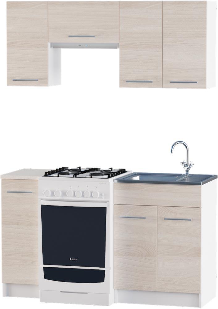 Кухня Эко №2 набор 1.4 м ЭВЕРЕСТ Белый + Шимо светлый, фото 1