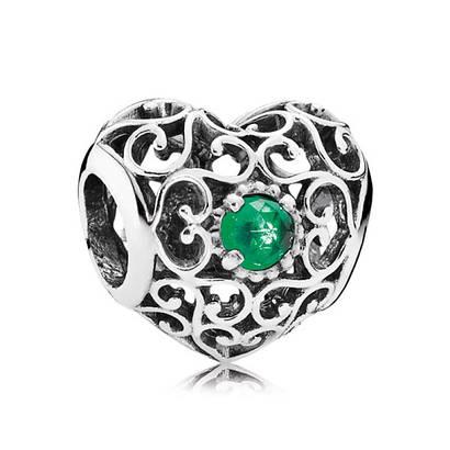Шарм «Сердце-талисман май» из серебра 925 пробы копия Pandora