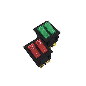 Кнопка двойная широкая 6 контактов с подсветкой GY 5 2001