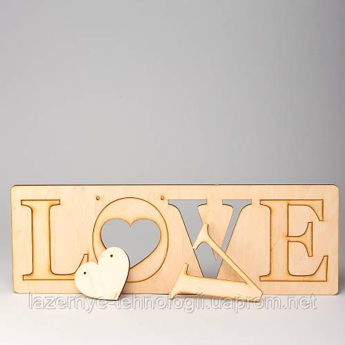 """Слова из дерева """"LOVE табличка"""""""