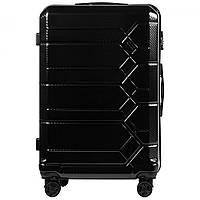 Чемодан поликарбонат Wings PC185 большой (L, 83 л) на 4 сдвоенных колесах Черный (Black)