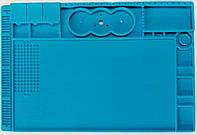 Платформа под микроскоп TE- 506 31,8 x 47,8 см с органайзером и силиконовым ковром (Голубой)