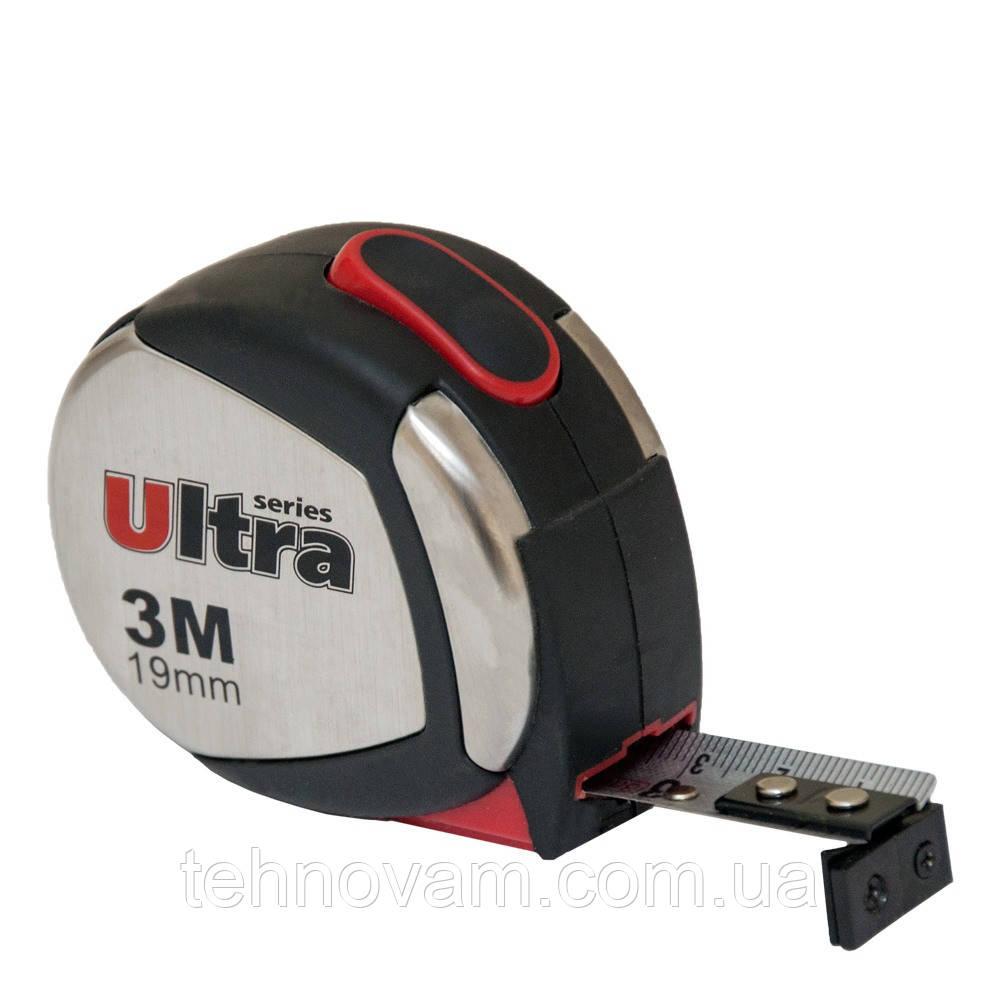 Рулетка магнитная, нейлоновое покрытие 3м×19мм ULTRA (3822032)
