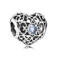 Шарм сердце-талисман март из серебра 925 пробы пандора (pandora)