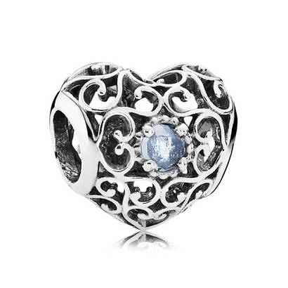 Шарм «Сердце-талисман март» из серебра 925 пробы