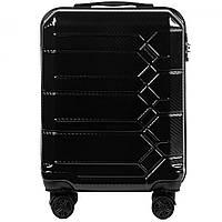 Чемодан поликарбонат Wings PC185 маленький - ручная кладь (S, 35 л) Черный (Black)
