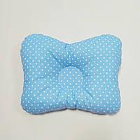 Подушка ортопедическая для новорождённого masterwork в форме бабочки 22*30 см. голубая в горошек
