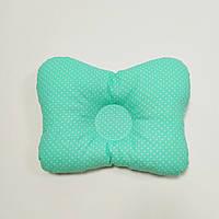 Подушка ортопедическая для младенца masterwork бабочка 22*30 см. мятная в горошек