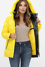 Женская теплая стильная яркая зимняя куртка пуховик с капюшоном размеры 42-50, фото 3