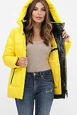 Жіноча тепла стильна яскрава зимова куртка пуховик з капюшоном розміри 42-50, фото 3