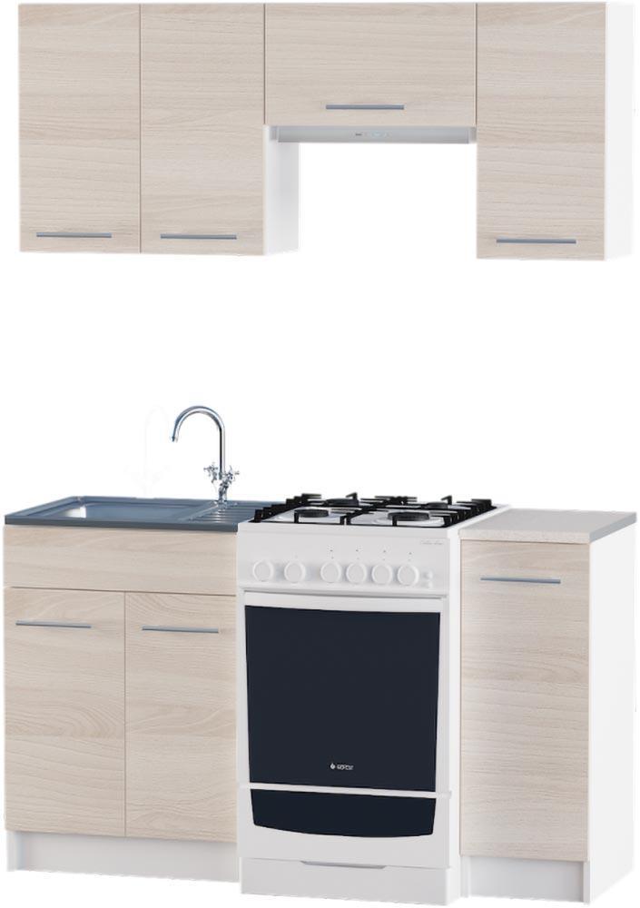 Кухня Эко №3 набор 1.4 м ЭВЕРЕСТ Белый + Шимо светлый, фото 1