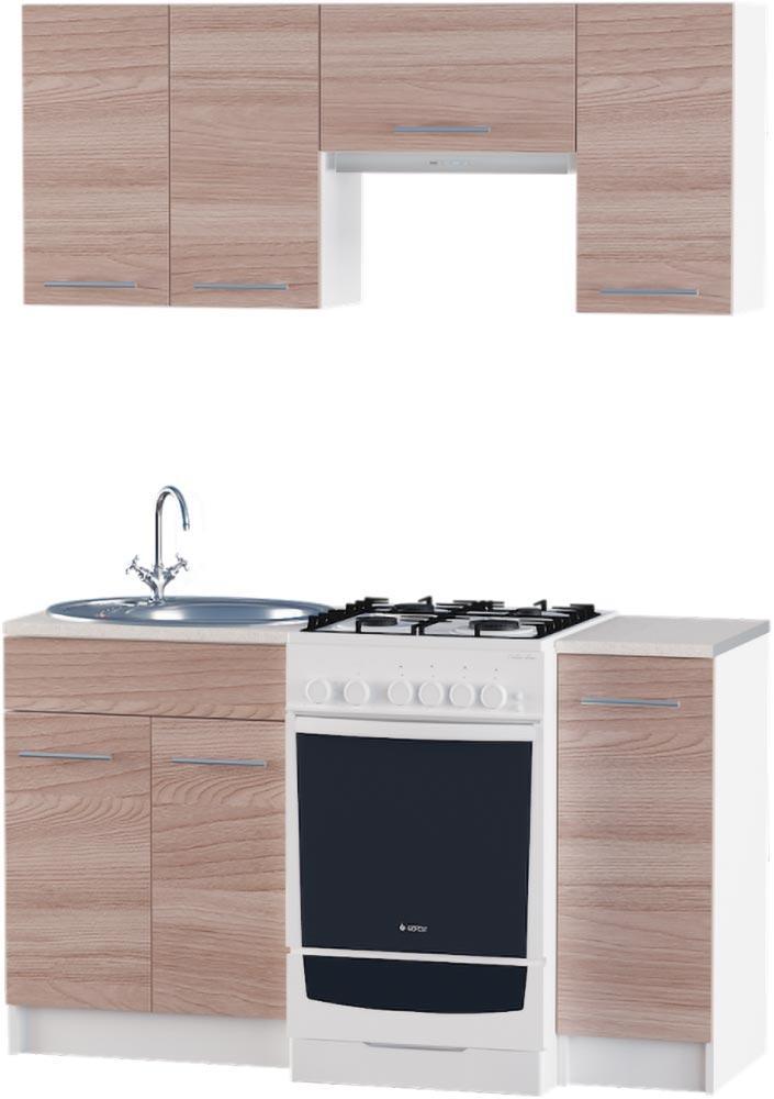 Кухня Эко №3 набор 1.4 м ЭВЕРЕСТ Белый + Шимо светлый, фото 4