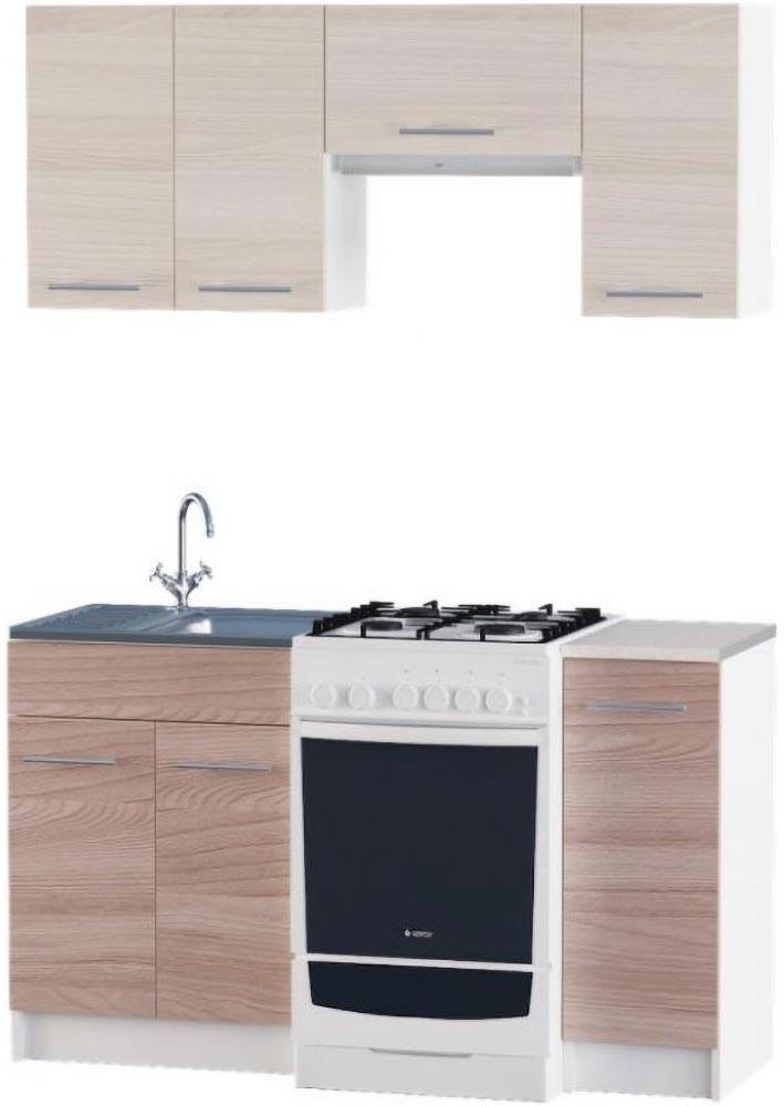 Кухня Эко №3 набор 1.4 м ЭВЕРЕСТ Белый + Шимо светлый, фото 6