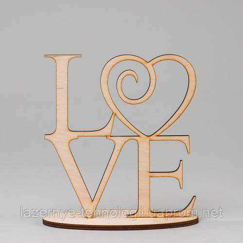 """Слова из дерева """"LOVE (на подставке)"""""""