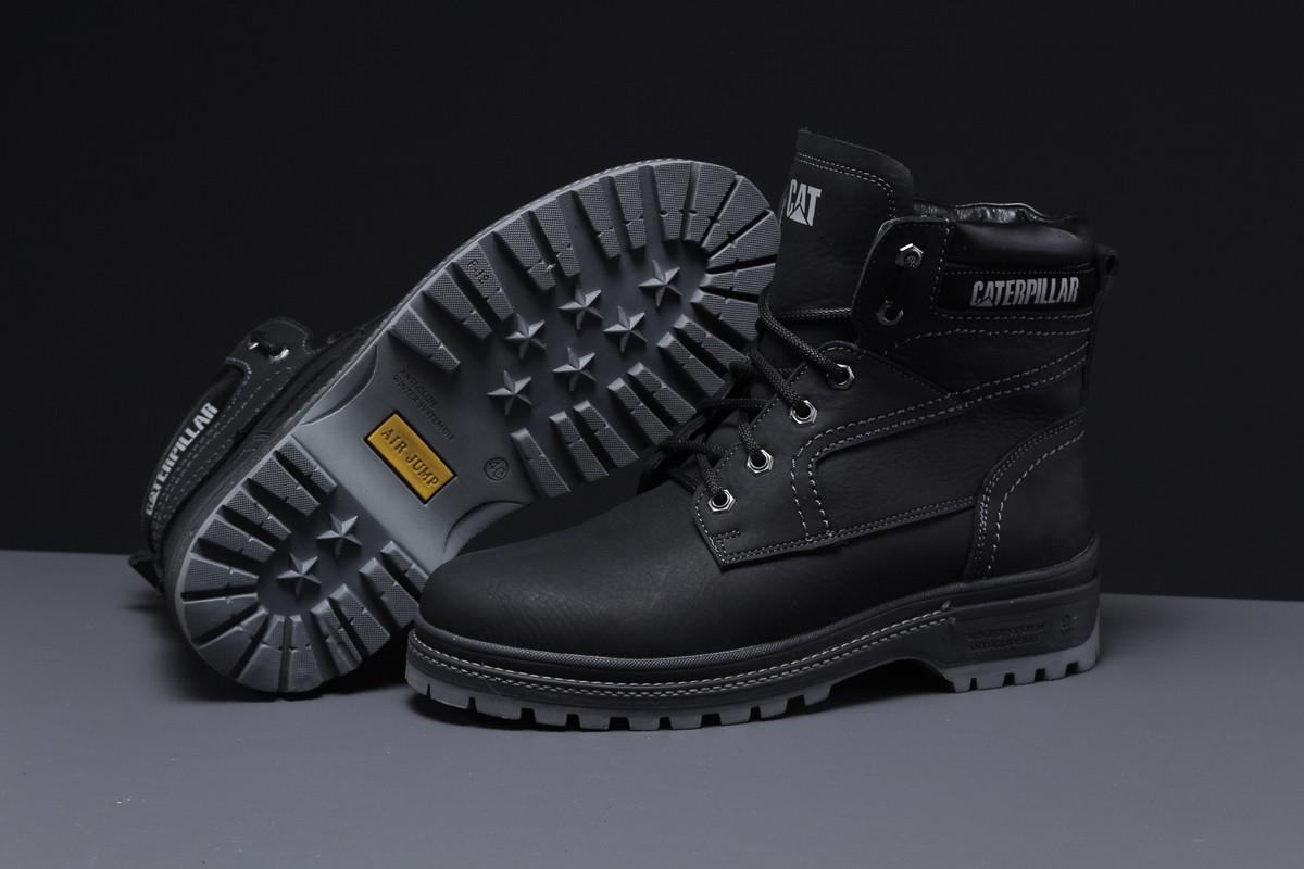 Зимние мужские ботинки 30546 ► CAT Caterpilar Anti-Glide  (мех), черные . [Размеры в наличии: ]