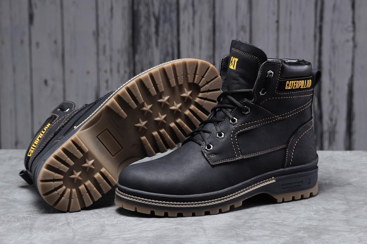 Зимние мужские ботинки 30547 ► CAT Caterpilar Anti-Glide  (мех), черные . [Размеры в наличии: ]