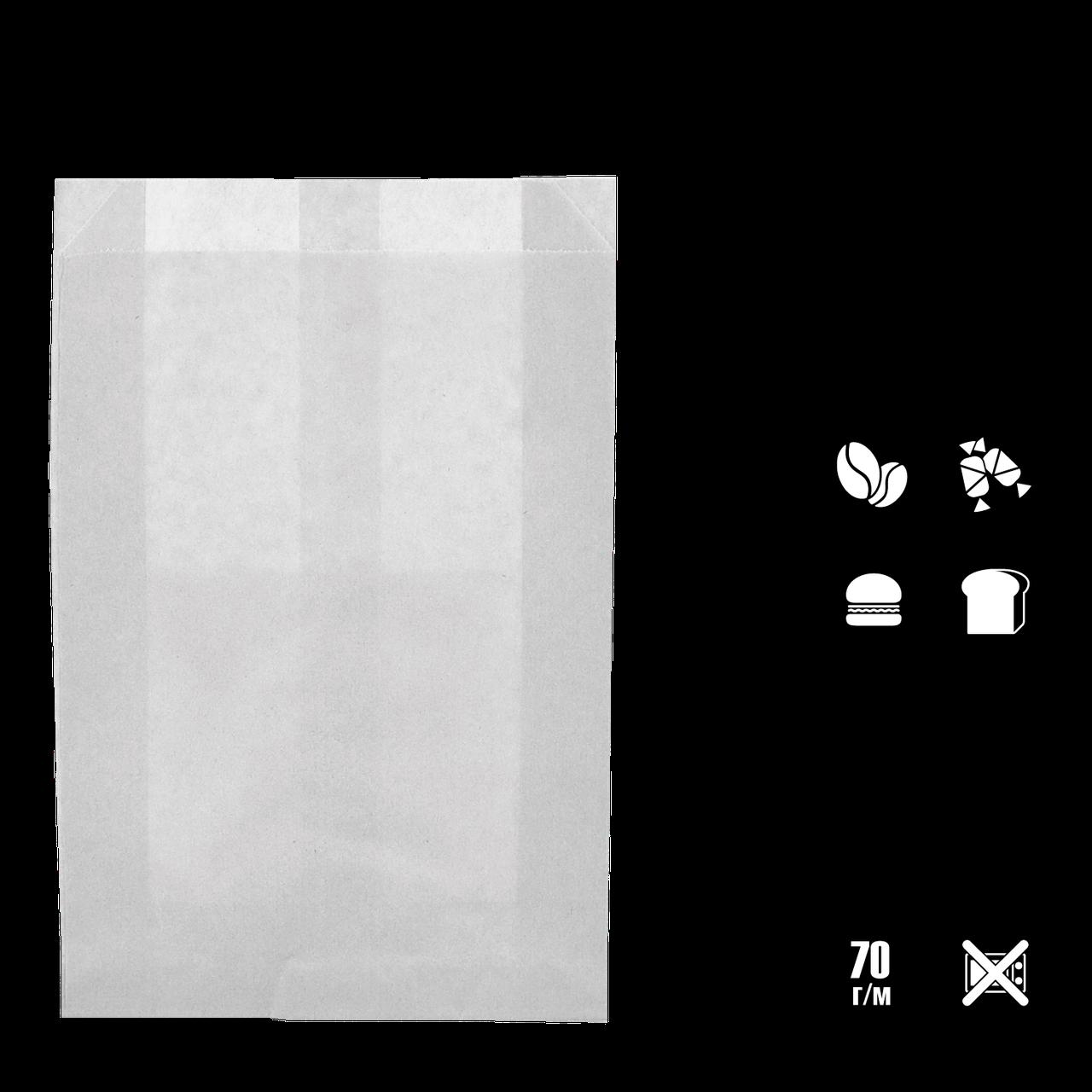 Паперовий пакет цілісний білий жиростійкий 310х200х50 мм (1922)