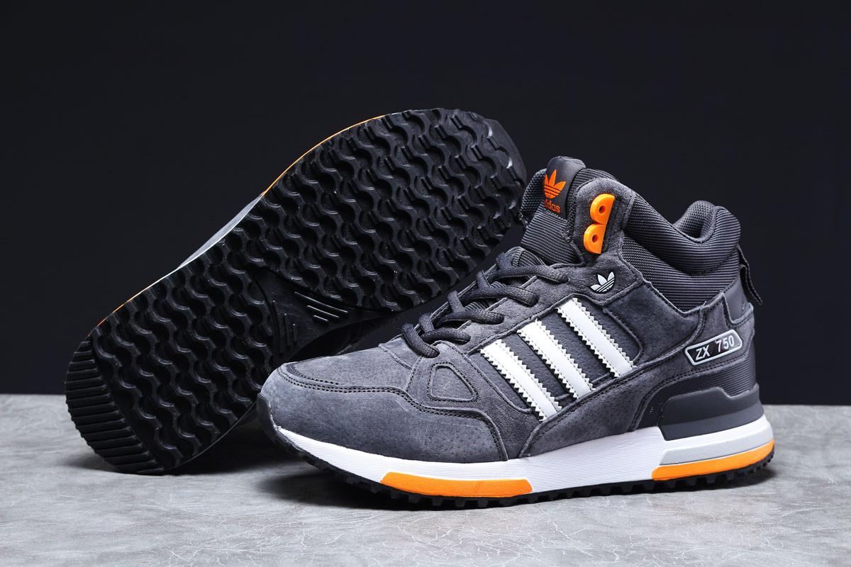 Зимние мужские кроссовки 31362 ► Adidas ZX 750 (мех), темно-серые . [Размеры в наличии: 41,42,44,45,46]