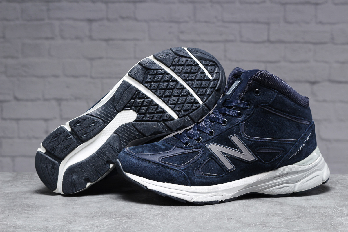 Зимние мужские кроссовки 31442 ► New Balance  990 (мех), темно-синие . [Размеры в наличии: ]