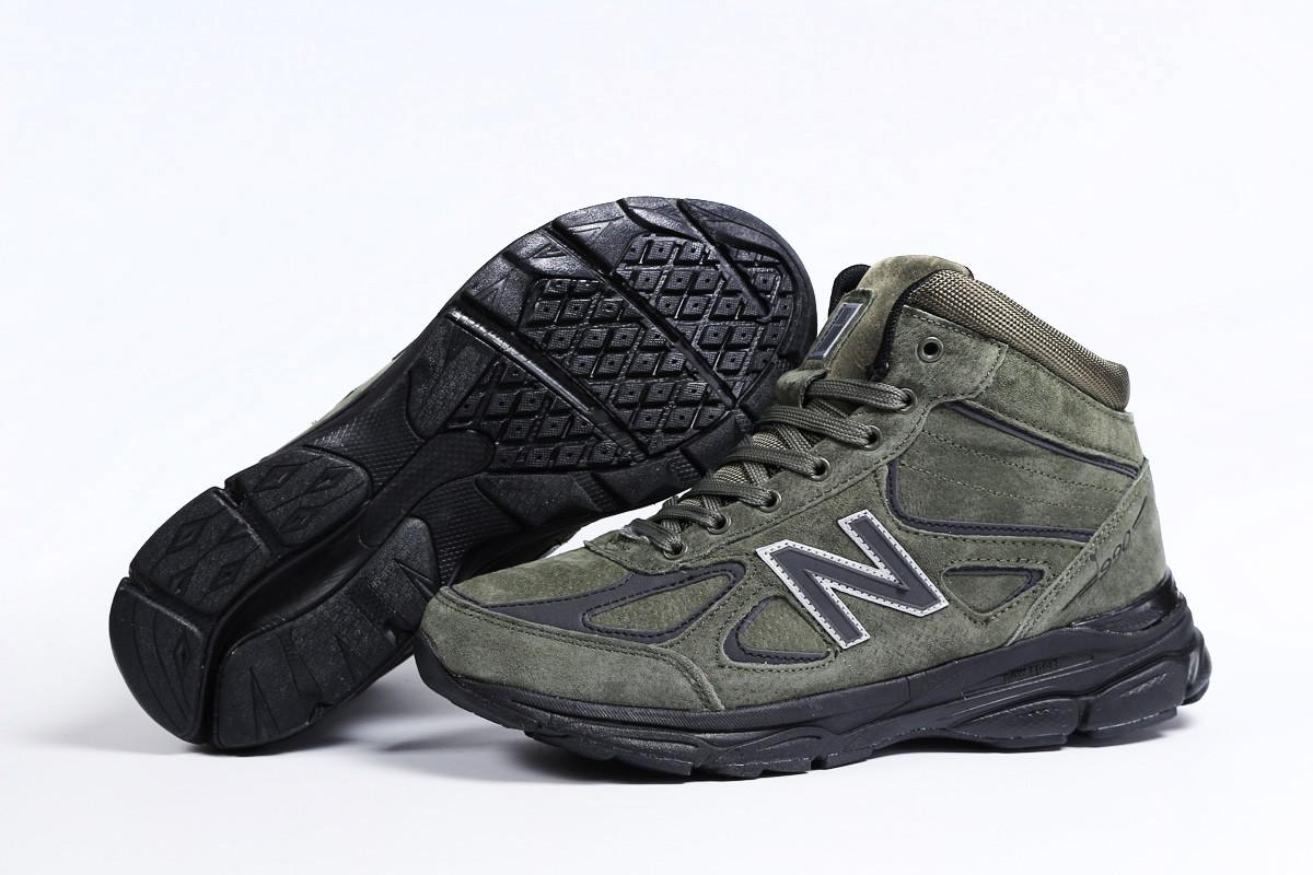 Зимние мужские кроссовки 31443 ► New Balance  990 (мех), зеленые . [Размеры в наличии: ]