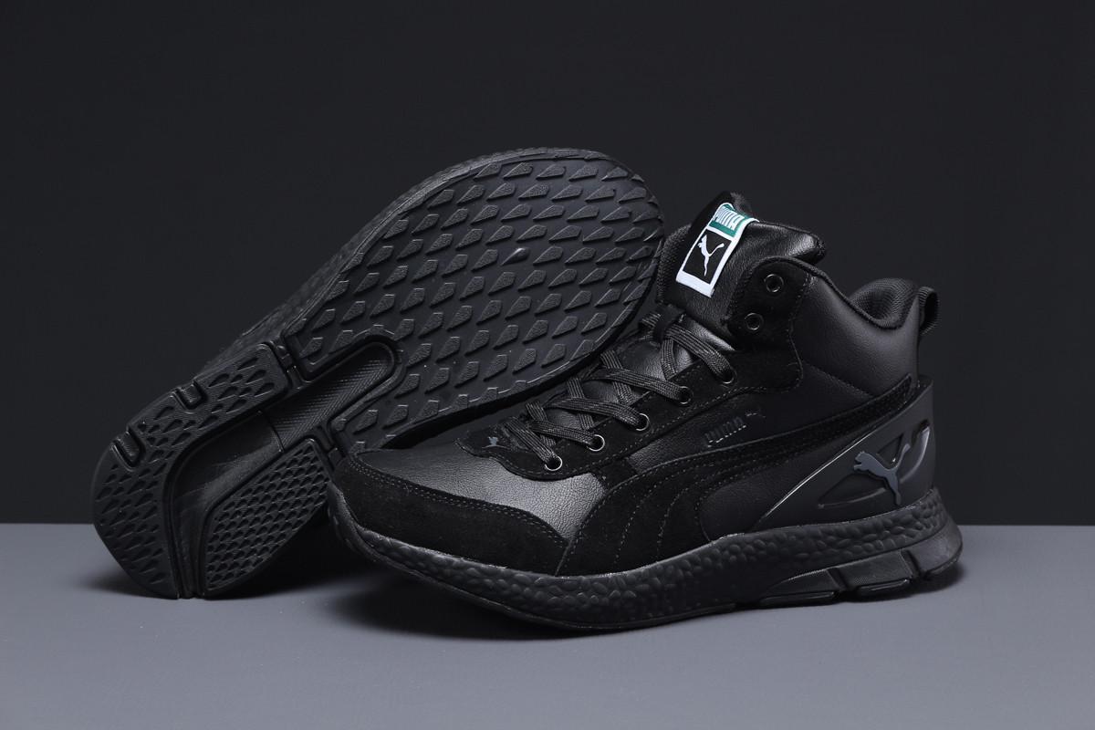 Зимние мужские кроссовки 31531 ► Puma (мех), черные . [Размеры в наличии: 42,43,44]