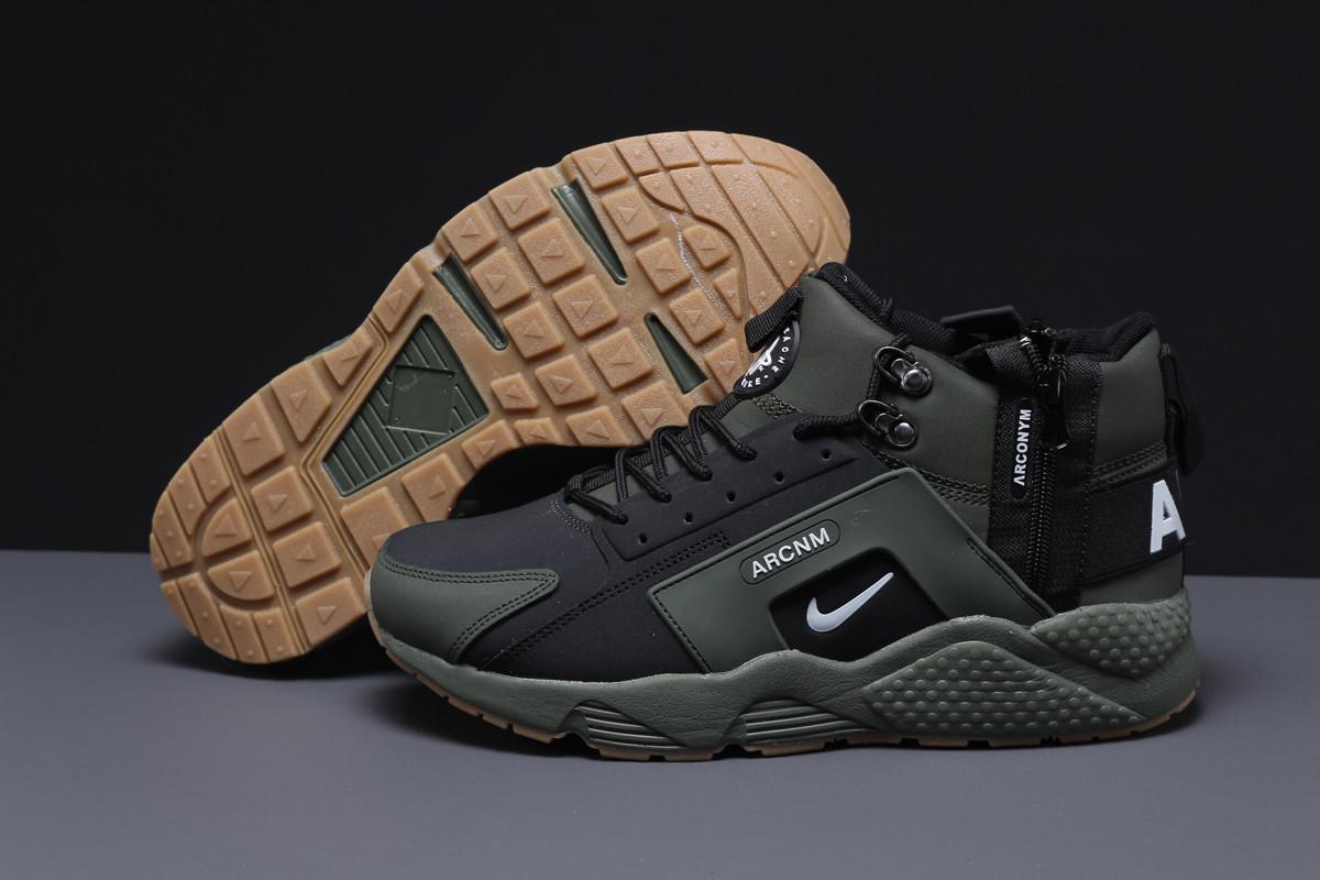 Зимние мужские кроссовки 31541 ► Nike Arcnm (мех), зеленые . [Размеры в наличии: 41,44,46]