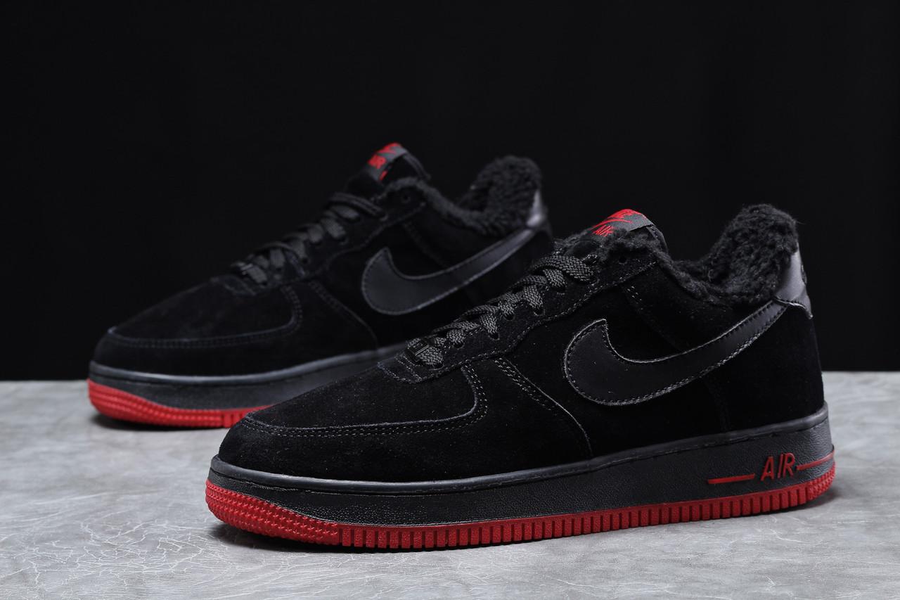 Зимние мужские кроссовки 31734 ► Nike Air AF1 (мех), черные . [Размеры в наличии: 42,43,44,45]