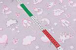 """Лоскут ткани """"Кролики с шариком-сердечком"""" розовые на сером фоне, размер 27*160 см, фото 5"""