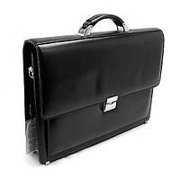 Шкіряна чоловіча сумка-портфель Desisan 216-1 чорна ділова для документів паперів з натуральної шкіри, фото 1
