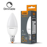Диммируемая LED лампа 6W E14 4100K C37 VIDEX светодиодная свеча, фото 1