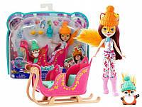 """Игровой набор Энчантималс """"Зимние сани"""" кукла Фелисити Фокс и лисица Флик Enchantimals Mattel GJX31"""