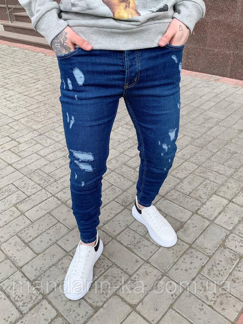 Джинсы мужские синие рваные