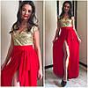Вечернее платье с разрезом и золотыми пайетками (много расцветок), фото 4