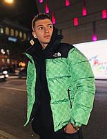 Куртка мужская зимняя The North Face xx Gucci до -30*С теплая зеленая | Пуховик мужской зимний ЛЮКС качества
