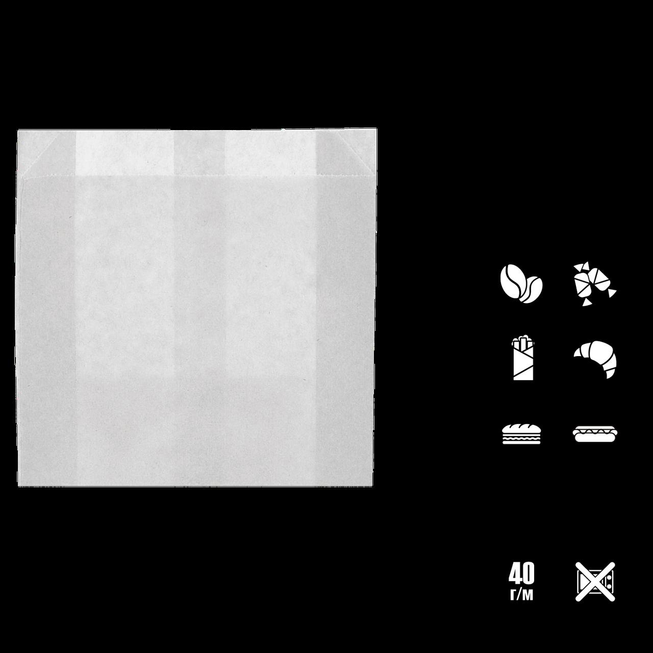 Пакет бумажный, жиростойкий, белый 140*120*50   100шт (1785)