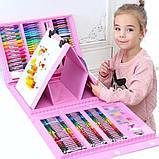 Набор для творчества 208 предметов, набор художника с мольбертом для детей рисования СИНИЙ И РОЗОВЫЙ, фото 2