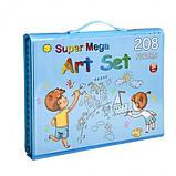 Набор для творчества 208 предметов, набор художника с мольбертом для детей рисования СИНИЙ И РОЗОВЫЙ, фото 6