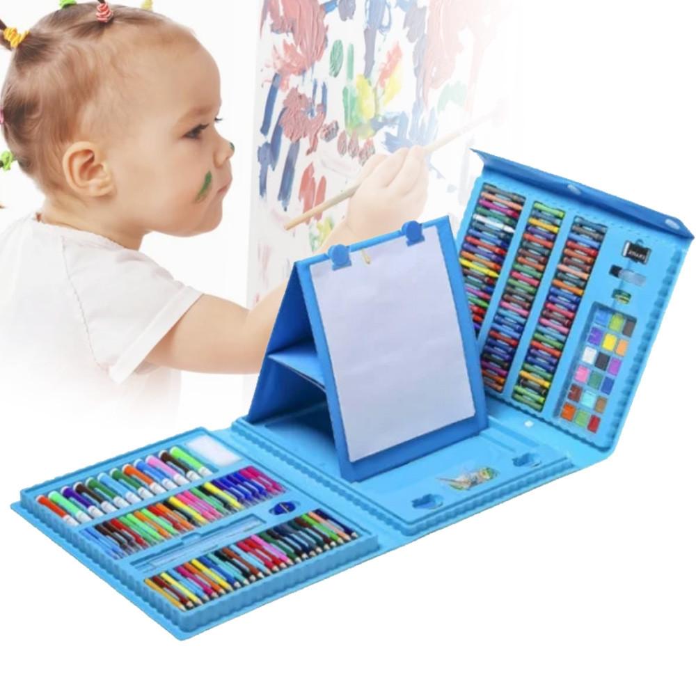 Набор для творчества 208 предметов, набор художника с мольбертом для детей рисования СИНИЙ И РОЗОВЫЙ