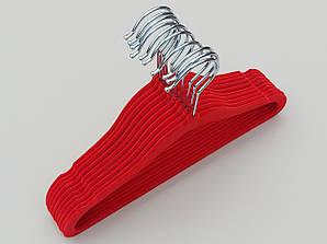Плечики детские флокированные (бархатные) красного цвета, длина 29,5 см, 10 штук в упаковке