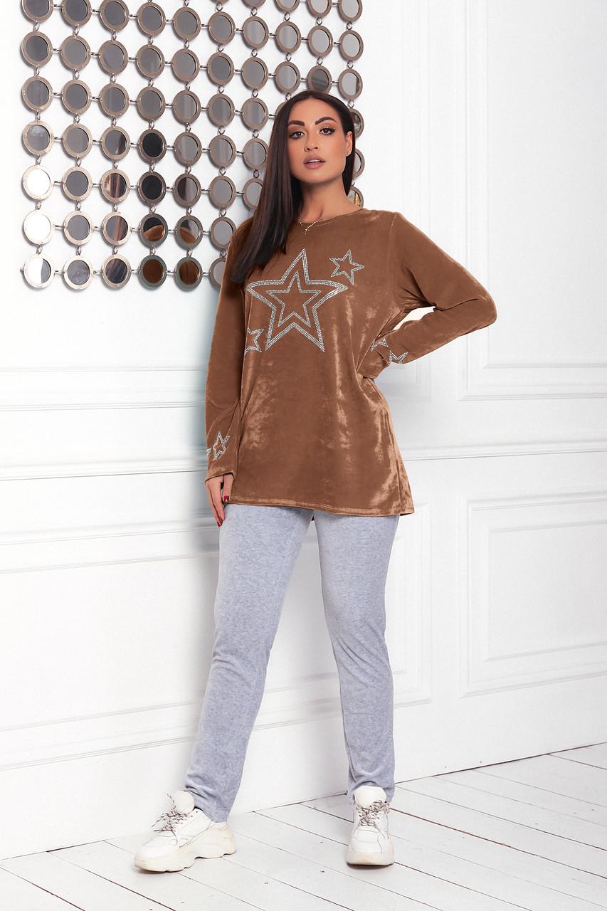 Жіночий велюровий домашній костюмчик, піжамка, розміри 48-56 коричневий + сірий