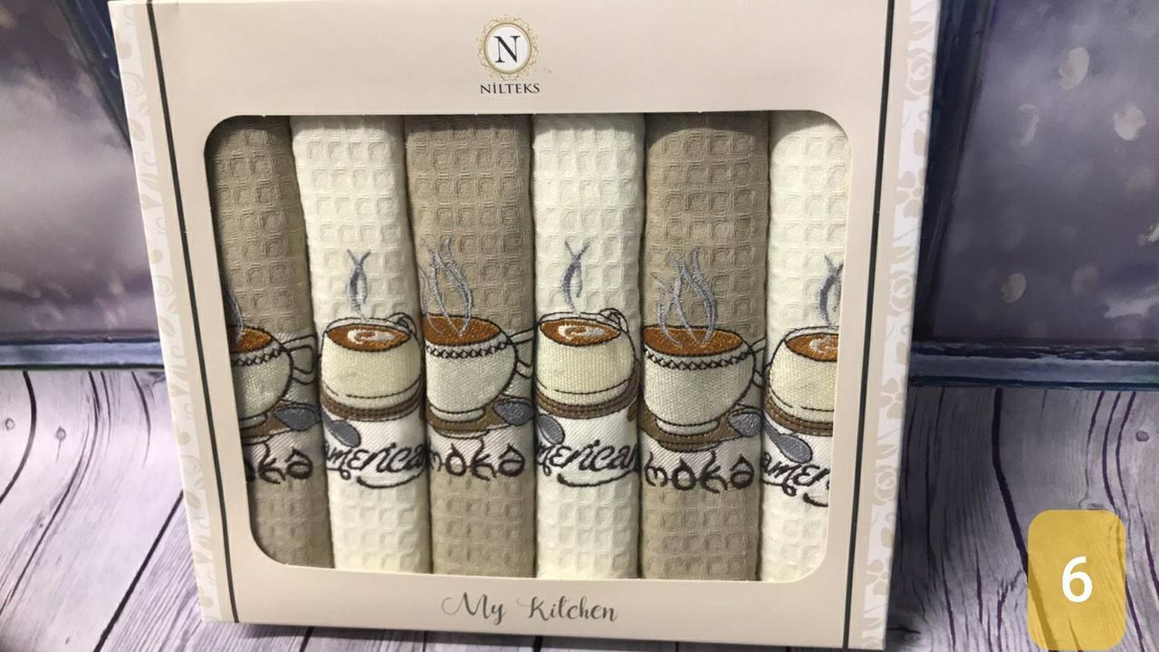 Набор Кухонных Полотенец Плотные Вафельные В Подарочной Коробке 40*60 6 шт С Вышивкой Турция