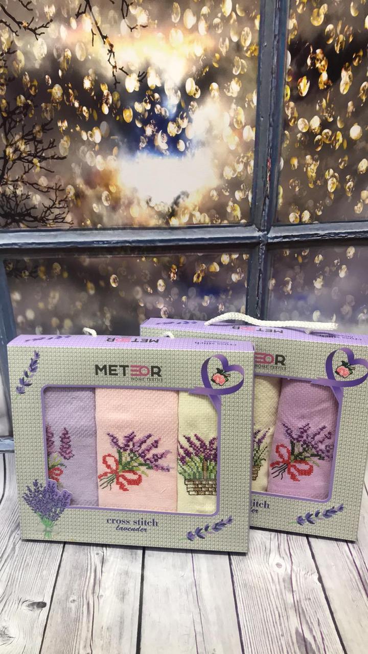 Набор Кухонных Полотенец Вафельные В Подарочной Коробке 40*60 3 шт С Вышивкой Лаванда Meteor Турция