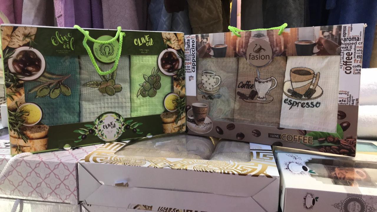Набір Кухонних Рушників Вафельні В Подарунковій Коробці 40*60 3 шт З Вишивкою Nilteks Туреччина