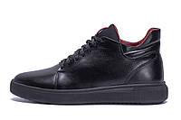 Чоловічі зимові шкіряні черевики ZG Black Red Premium Quality, фото 1