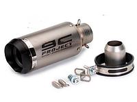Глушник-прямоток мото SC Project, нержавіюча сталь, карбон, 230 мм чорний, аналог