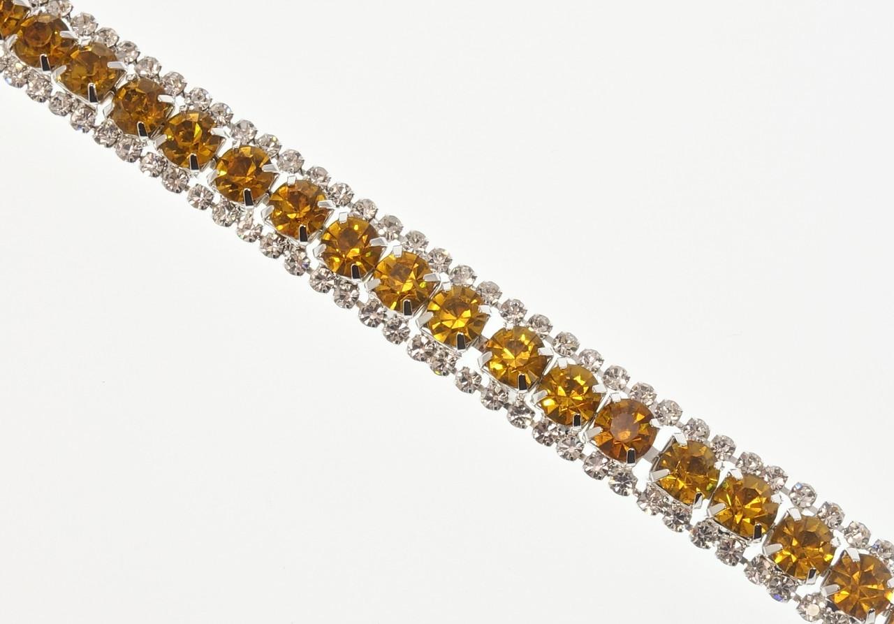 """Браслет  """"Дорожки янтарных кристаллов со стразами"""" длина 19см х 11мм"""